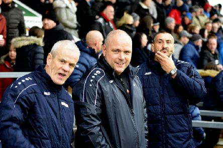 The smiles are back in the AFC Fylde dugout as Jim Bentley enjoys the 'positive vibe' Picture: STEVE MCLELLAN