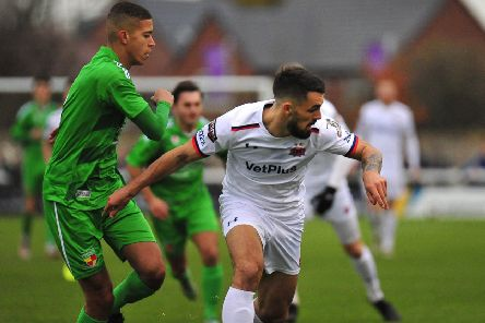 Jordan Williams came close to scoring for AFC Fylde at Nantwich Town' Picture: Steve McLellan
