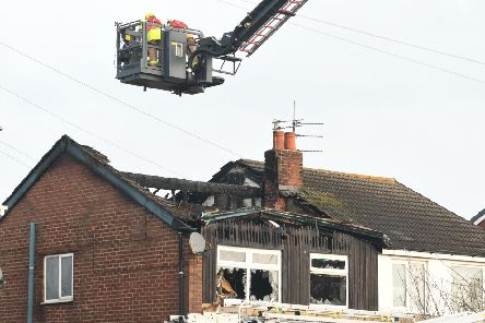 The aerial ladder platform has been used to battle the blaze which began at around 5am this morning (November 21)