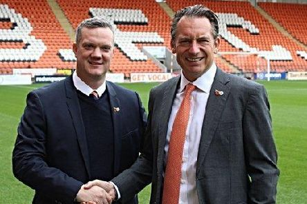 Ben Mansford (left) with Seasiders owner Simon Sadler   Picture: BLACKPOOL FC