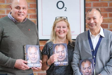 Eddie Jones (right) with Alison Plackitt from event organisers Plackitt and Booth, and former Fylde captain Matt Filipo, who interviewed him ahead of a question and answer session.