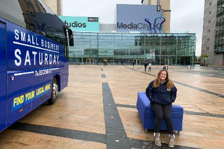 Michelle Ovens MBE, director of Small Business Saturday at Media City in Salford during a national bus tour.
