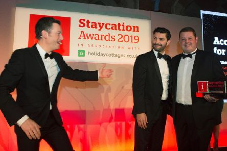 BBC presenter Matt Baker, award presenter Andrew Webb and Sancastle head of marketing Mark Wilkins at the awards. Picture by Tom Pilston