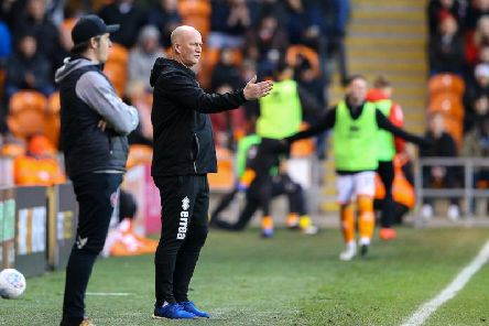 Simon Grayson and Joey Barton on the touchline during yesterday's Fylde coast clash