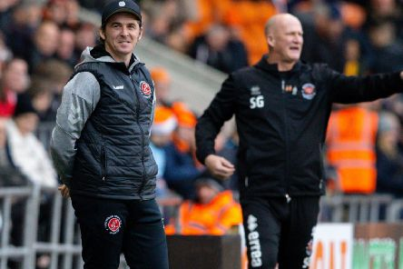 Fleetwood Town head coach Joey Barton and his Blackpool counterpart Simon Grayson