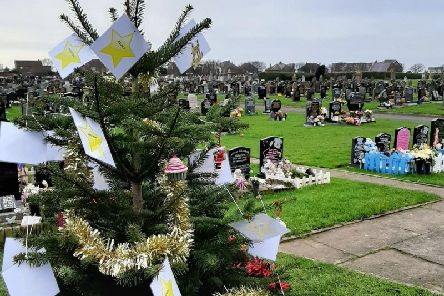 A memorial Christmas tree has been placed in both Poulton new cemetery and Fleetwood cemetery for bereaved parents.