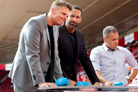 BT Sports Pundits Jake Humphrey (left), Rio Ferdinand and Joe Cole prior to the Premier League
