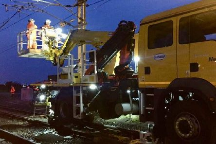 Engineers worked overnight to repair the cables. Picture by Network Rail
