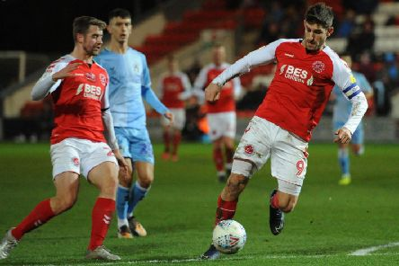 Ched Evans on the attack against Coventry but Fleetwood had another off-night in front of goal