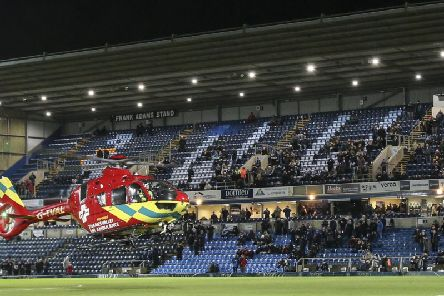 The Air Ambulance takes off from the Wycombe Wanderers pitch but supporter Mark Bird could not be revived after a heart attack