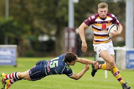Tom Grimes scored Fylde's final try in their defeat at Hull Ionians