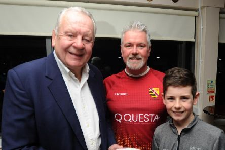 Bill Beaumont (left)meets friends and former team mates at Fylde Rugby Club.  He is pictured with Under-12 coach Simon Carter and 11-year-old Max Carter