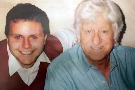 Ian Fortt with Jon Pertwee, who played the third Doctor in Doctor Who