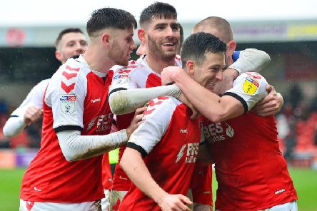 Fleetwood celebrate Jason Holt's first league goal for the club against Plymouth