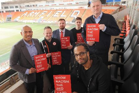 Backing the Show Racism the Red Card campaign at Blackpool FC are (clockwise from left ) Chris Iwelumo, Ashley Hackett, deputy PCC Chris Webb, Ben Holman, Seasiders manager Terry McPhillips and Nathan Delfouneso  '''''              Picture: DANIEL MARTINO
