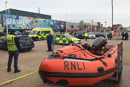 Lifeboats were scrambled to rescue a person from the sea near Central Pier in Blackpool. Pic: RNLI