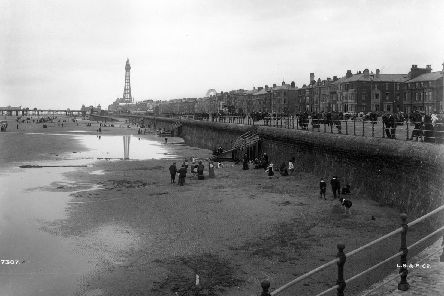 A general view of the beach at Blackpool South Shore in 1903, with Blackpool Tower in the background.
