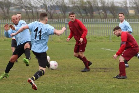 Sunday Alliance cup action between Bloomfield and AFC Lane Ends Blackpool Picture: KAREN TEBBUTT