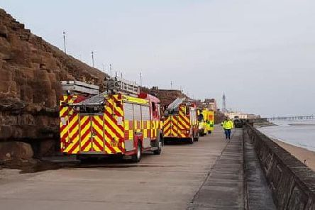 Firefighters at the scene in Lower Walk, Blackpool on Thursday evening (April 17).