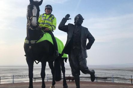 Morecambe the police horse next to the Eric Morecambe statue in Morecambe. Credit: Lancs Police Mounted