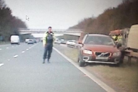 Police posted this picture of the car travelling the wrong way down the M6