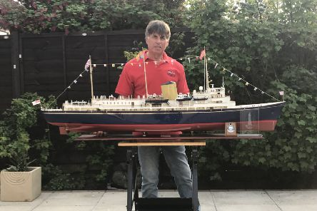 Ray Scrivens of St Annes with his model of the Royal Yacht Britannia
