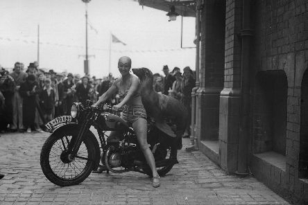 Getty Images archive picture, shows a performing sea lion at a circus in Blackpool riding pillion behind a bathing belle, in June 1935