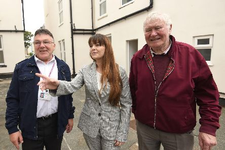 Councillors Derek Robertson BEM and David O'Hara are given a tour of the accommodation by Nicola Middlehurst from Creating Change Housing