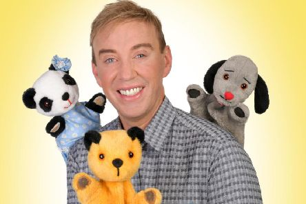 Sooty, Sweep and Soo with presenter Richard Cadell.