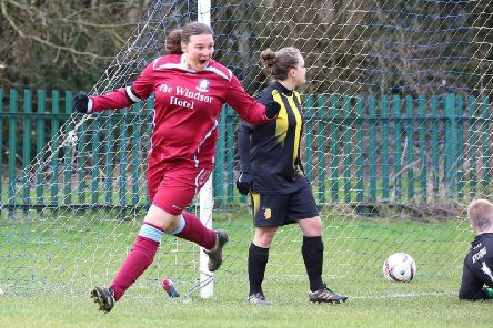 Mel Marsden celebrates scoring for Brid Rovers Ladies in the cup semi-final