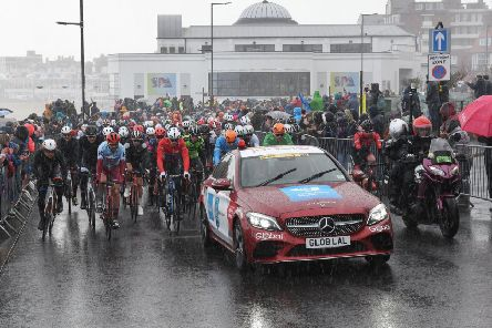 The starting point for the Tour de Yorkshire was packed.