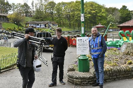 Preparing to film in Peasholm Park