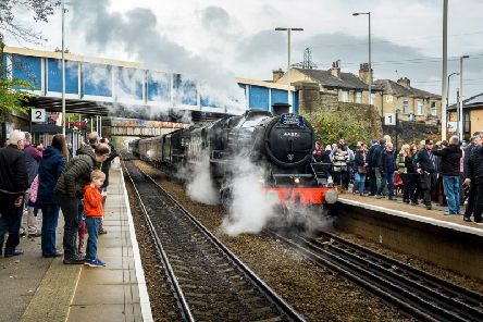 The trains arrived in Brighouse to fill up with water. Picture: Steven Lord