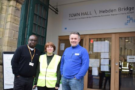 (LtR) Edwin Baker, Sian Rogers, and Graham Mynott outside Hebden Bridge flood hub