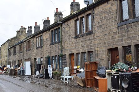A row of houses in Mytholmroyd devastated by the flood