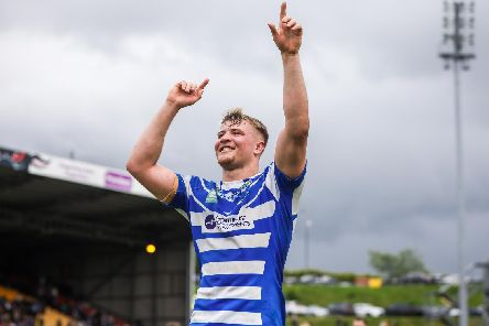 Halifax's Chester Butler celebrates the Challenge Cup quarter-final win at Bradford Bulls. He has now joined Huddersfield Giants. (Picture: Alex Whitehead/SWpix.com)