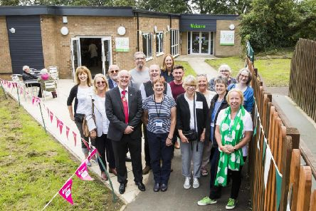 Trustees and funders at the re-opening of the refurbished community centre, The Space at Field Lane, Rastrick.