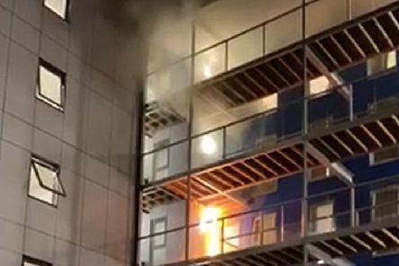 Handout videograb of the fire after it had just started on the top floors of a student accommodation building in Bolton, Greater Manchester. The fire eventually spread and engulfed the entire six-storey building. Picture: Rafaela Nunes/PA Wire