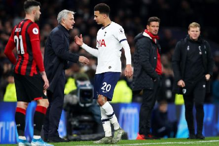 Jose Mourinho and Dele Alli during the Premier League clash between Spurs and AFC Bournemouth