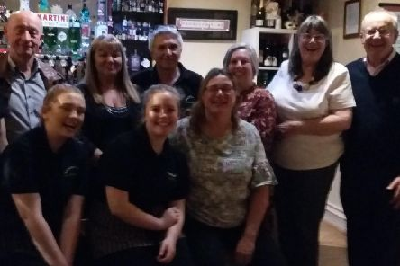 Members of the Burnley Twinning Association with staff at Mamma Mia restaurant in Padiham.