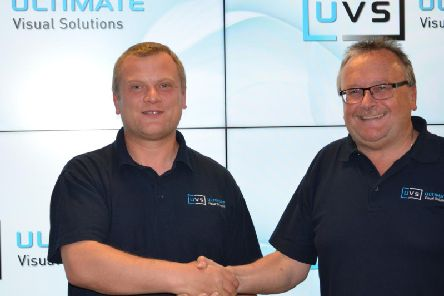 New UVS recruit, Pawel Religa, with the company's MD Steve Murphy.
