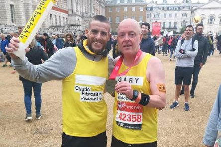 Ryan Salmon and his father-in-law Gary Ingham at the London Marathon's meet and greet. (s)