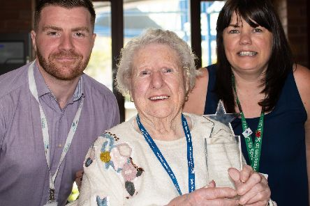 Doris with Star awards chairman Jane Butcher and Star awards committee member Rob O'Brien