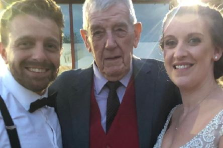Harry Hodgson (89) travelled over 10,000 miles to surprise his great niece Leanne Bradshaw at her wedding to fiance Greg Wharf.