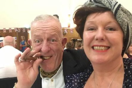 Ready to party at the Ballroom Blitz are Dave Alexander and his wife Collette.