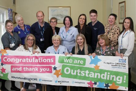 Buxton Hospital staff celebrating the outstanding rating from the CQC