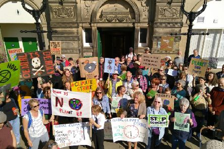 The climate strike outside Buxton Town Hall on Friday.
