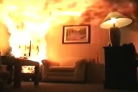 The video shows a fire spreading rapidly