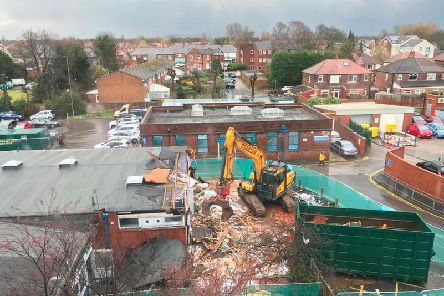 Work is underway to demolish old wards at Stepping Hill Hospital as part of a long-term renovation and improvement project.