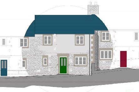 The terrace of four new homes is expected to be complete in November.